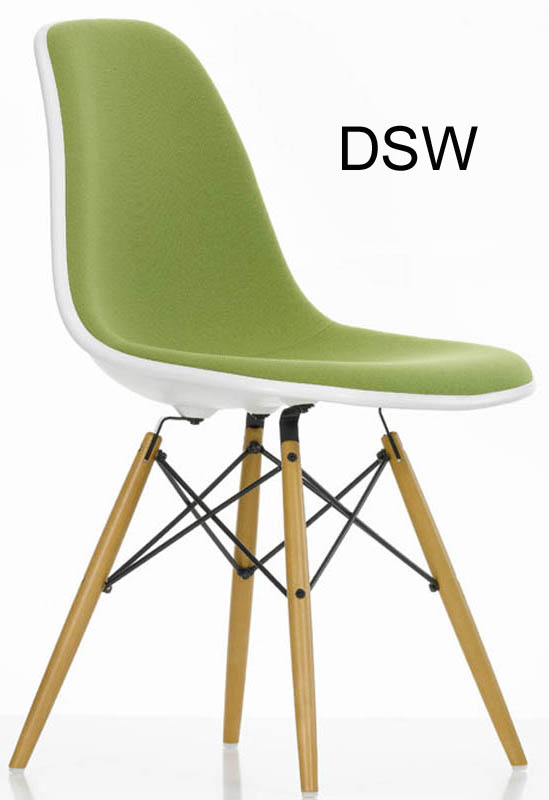 eames plastic side chair dsr dsw dsx padded by vitra. Black Bedroom Furniture Sets. Home Design Ideas