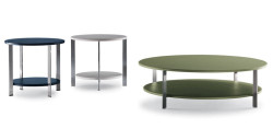Low table / contemporary / metal / leather