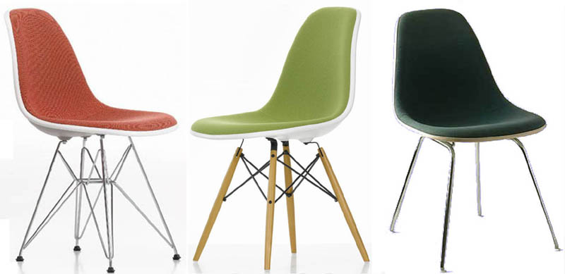 Eames Plastic Side Chair DSR DSW DSX Padded by Vitra | Cattelan ...