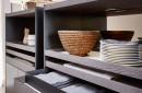 Contemporary sideboard / wooden / with glass panel
