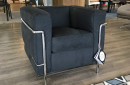 poltrona lc2 cassina cromata chromed black nero microfibra le corbusier original expo outlet sale offerta (2)