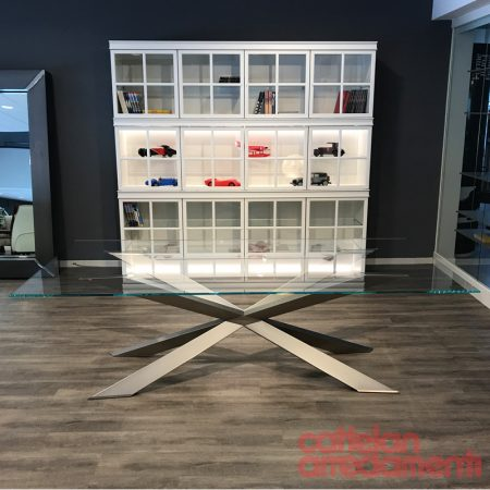 tavolo spyder cattelan italia table arredamenti base acciaio titanio cristallo trasparente extrachiaro bisellato outlet offerta sale stainless steel glass (1)