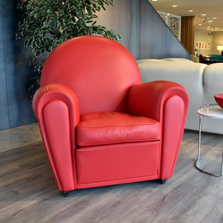 vanity fair poltrona frau pelle rossa sc 126 cremisi red leather armchair expo offerta outlet sale originale cattelan arredamenti