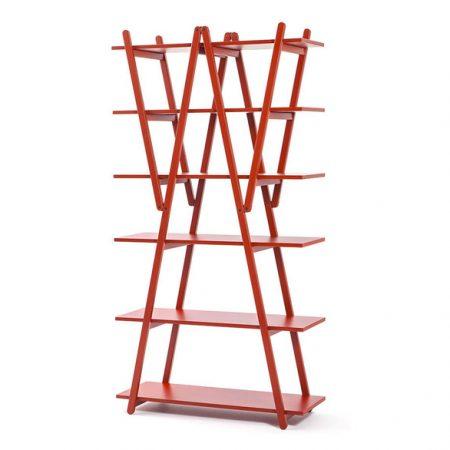 114 nuvola rossa cassina libreria laccato rosso red painted bookcase design vico magistretti