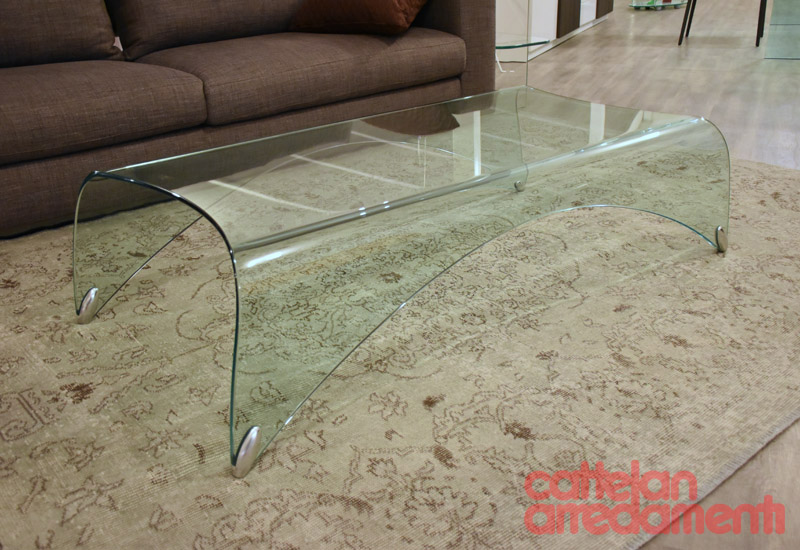 Arredamento Design In Offerta.Genio Fiam Italia Tavolino Monolitico Cristallo Vetro Curvato