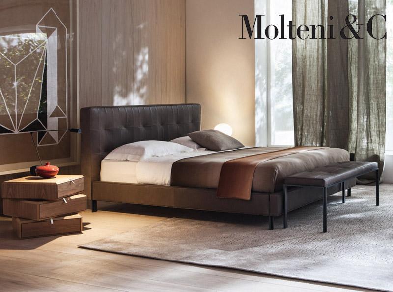 Letto Matrimoniale Design Outlet.Letto Matrimoniale Anton Bed Molteni Fabric Leather Design Vincent