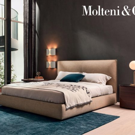 Letto matrimoniale ribbon bed molteni fabric leather design vincent van duysen moderno original (3)