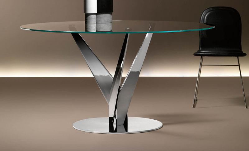 Tavoli Rotondi In Vetro Cristallo.Epsylon Fiam Italia Tavolo Rotondo Vetro Cristallo Acciaio Round