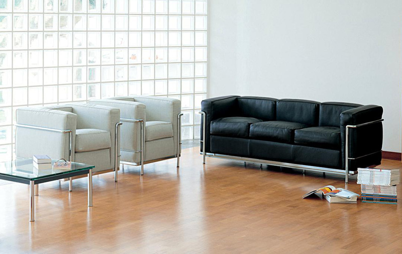 armchair and sofa le corbusier lc2 by cassina cattelan. Black Bedroom Furniture Sets. Home Design Ideas
