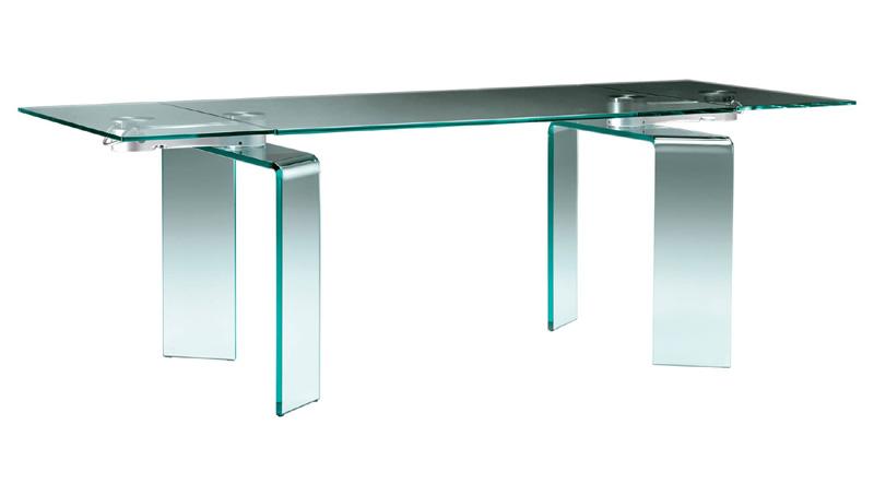 Tavolo Cristallo In Vetro.Ray Plus Fiam Italia Tavolo Allungabile Vetro Cristallo Curvato
