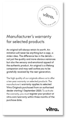 garanzia 10 anni selezione prodotti Vitra Originals